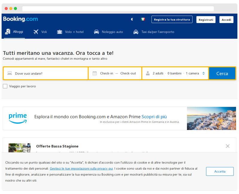 booking.com homepage
